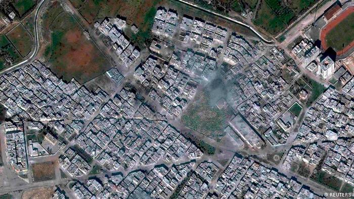 A satellite image of the Baba Amr district of Homs, where activity between the Free Syrian Army and the Syrian military have been reported, is seen in this February 25, 2012 DigitalGlobe handout photo obtained by Reuters on March 1, 2012. Defeated Syrian rebels abandoned their shattered stronghold in Homs, giving way to a 26-day army assault on a city that had become a symbol of the year-long revolt against President Bashar al-Assad MANDATORY CREDIT DIGITAL GLOBE REUTERS/DigitalGlobe/Handout (SYRIA - Tags: MILITARY TPX IMAGES OF THE DAY CONFLICT) FOR EDITORIAL USE ONLY. NOT FOR SALE FOR MARKETING OR ADVERTISING CAMPAIGNS. THIS IMAGE HAS BEEN SUPPLIED BY A THIRD PARTY. IT IS DISTRIBUTED, EXACTLY AS RECEIVED BY REUTERS, AS A SERVICE TO CLIENTS