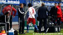 Football - soccer: first division germany, 1. Bundesliga 2011/2012, Hamburger SV (HSV) - VfB Stuttgart, Paolo Guerrero (Hamburger SV, #9) verlaesst nach einer Roten Karte das Spielfeld