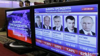 A screen displays portraits of the candidates and shows the preliminary results of the presidential elections at the Central Election Commission headquarters in Moscow March 4, 2012. Vladimir Putin won a resounding victory in Russia's presidential election on Sunday, exit polls showed, securing a new six-year term in the Kremlin and a mandate to deal with opposition protests after a vote that opponents said was marred by fraud. REUTERS/Sergei Karpukhin (RUSSIA - Tags: POLITICS ELECTIONS)