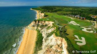 The coast along Trancoso and a golf course above the beach