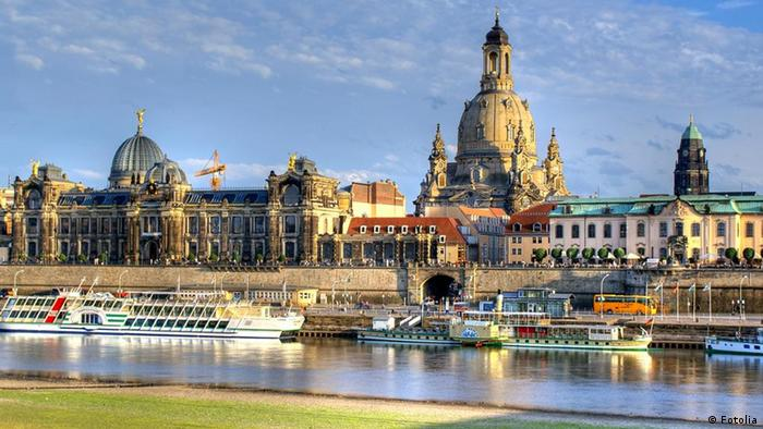 Dresden Frauenkirche church, Elbe riverbanks old town center