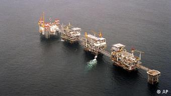 A five-platform complex pumps crude off the coast of Cabinda, Angola's most prolific oil field.