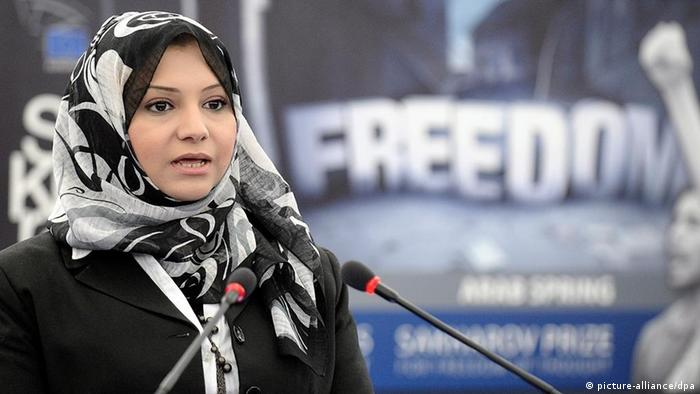 Egyptian activist Asmaa Mahfouz delivers a speech to the European parliament in 2011.