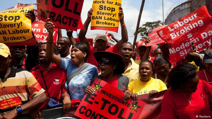 Workers striking in South Africa