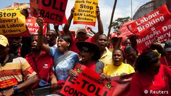Striking members of the Congress of South African Trade Unions at a demo in March, (Photo: Reuters)