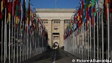 Das Eingangstor der Vereinten Nationen (united nations, Nations Unies), aufgenommen am Montag (26.12.2011) in Genf. Foto: Fredrik von Erichsen