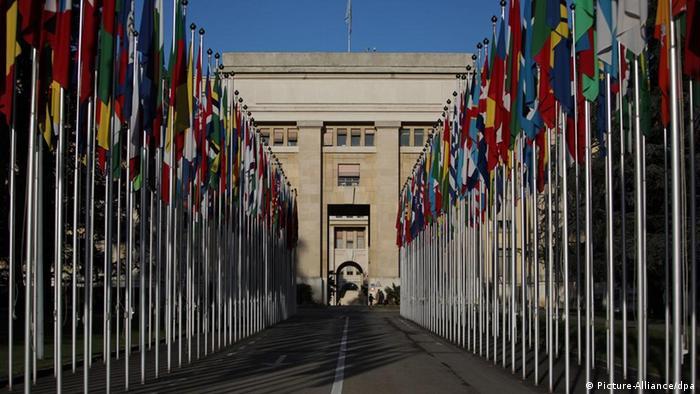 Das Eingangstor der Vereinten Nationen UNO in Genf