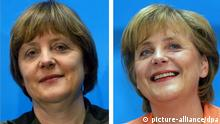 Von Endfrisur und Apricotblazer - Angela Merkels Outfitwandel: (v.l. oben 1995, 2001 nicht im Bild) und unten 2004 und 2005 (Bildkombo). Fotos: dpa +++(c) dpa - Report+++, Von ´Endfrisurª und Apricotblazer - Angela Merkels Outfitwandel: v.l. oben 1995, 2001 und unten 2004 und 2005 (Bildkombo). Fotos: dpa +++(c) dpa - Report+++.CDU; .Haarmode; .Personen; .Politik; Frisur; l‰cheln; neutral; Christlich_Demokratische_Union CDU CDU; Conservative; hair_styling; hairdo; hairdressing; hairstyle; neutral; People; POL; politics; smile; smiling