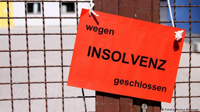 Sign in German reading, 'Closed due to insolvency'