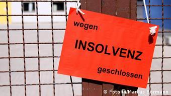 Schild wegen Insolvenz geschlossen
