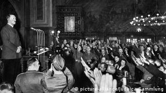 Adolf Hitler making an address in the Munich Hofbräuhaus in 1941