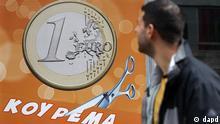Griechenland Finanzkrise Symbolbild Haircut Plakat für Frisör in Athen