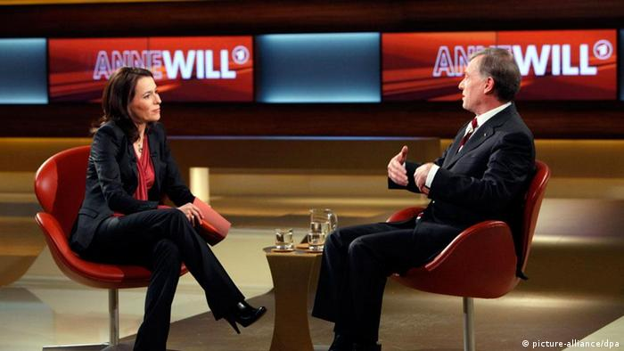 Presenter Anne Will with former president Horst Köhler in her talk-show