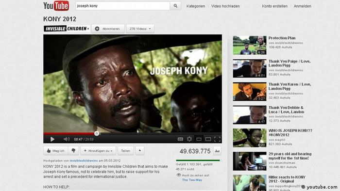 Screenshot des Youtube-Videos Joseph Kony 2012 (Foto: DW)