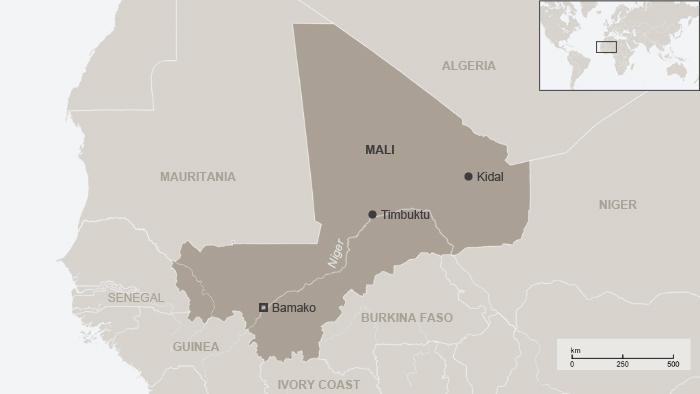 Karta Malija i okolnih zemalja