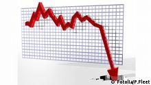 Symbolbild Abschwung Rezession Börsenkurve