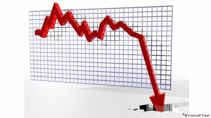 График, показывающий падение курса акций на бирже
