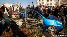 خودروی حامل زهیر القیسی پس از حملهی روز جمعه (۹ مارس / ۱۹ اسفند)