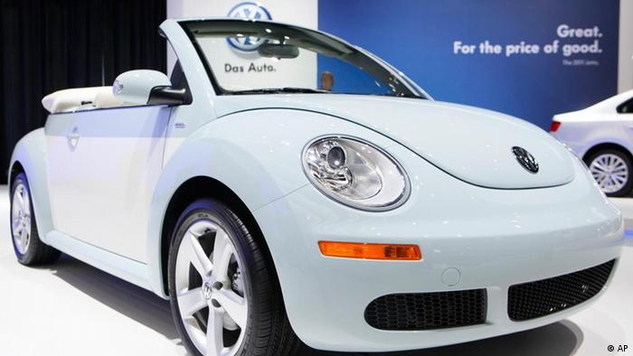 A 2010 VW New Beetle Final Edition convertible is displayed at the Volkswagen exhibit at the Los Angeles Auto Show Wednesday, Nov. 17, 2010 in Los Angeles. ( AP Photo/Damian Dovarganes)
