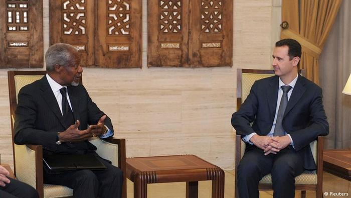 Syria's President Bashar al-Assad (R) meets U.N.-Arab League envoy Kofi Annan in Damascus March 10, 2012