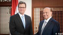 گیدو وستروله، وزیر خارجه آلمان در دیدار با عبد ربه منصور هادی، رئیسجمهور یمن
