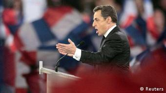 France's President Sarkozy, candidate for the 2012 French presidential election, delivers his speech during a campaign rally in Villepinte ( Eingestellt von wa)
