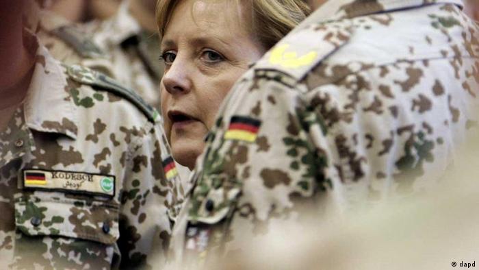 Angela Merkel on arrival at the base in Afghanistan