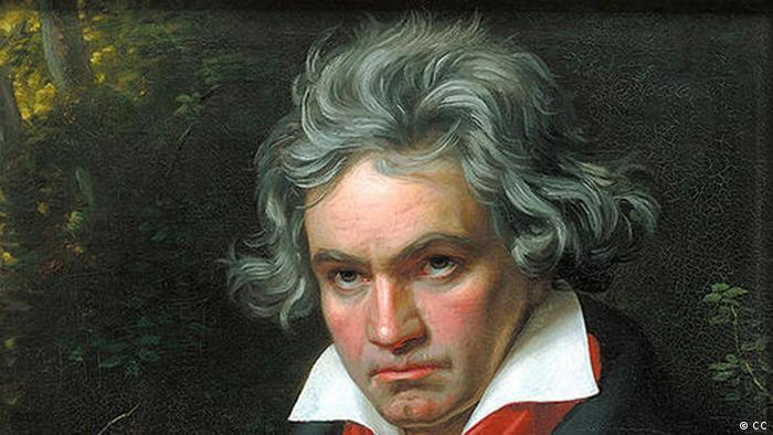 Portrait of Beethoven with musical score behind him, by Joseph Karl Stieler