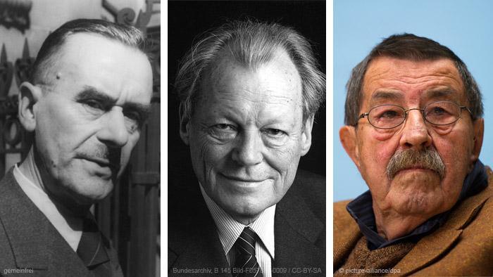 Bilder der Nobelpreisträger: Thomas Mann, Willy Brandt und Günter Grass (Montage: DW)