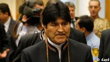 Bolivia's President Evo Morales arrives for the 55th session of the Commission on Narcotic Drugs of the United Nations Office on Drugs and Crime, UNODC, at the International Center, in Vienna, Austria, on Monday, March 12, 2012. (Foto:Ronald Zak/AP/dapd)