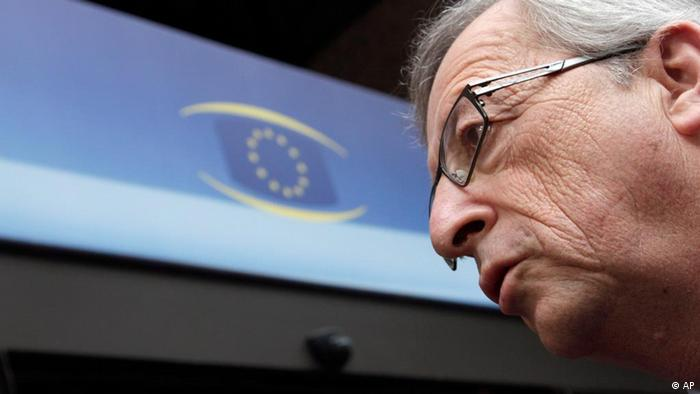 Jean-Claude Juncker speaking with the media at a eurozone finance minister meeting in Brussels in March 2012. (Photo: Virginia Mayo/AP/dapd)