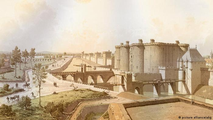 Litografia da Bastilha, construída entre 1368 e 1382 e destruída pela revolução francesa em 1789