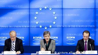 BRUSSELS, March 13, 2012 Commissioner of the European Union (EU) Economic Affairs Olli Rehn (L), Dannish Economy Minister Margrethe Vestager (C) and EU Commissioner in charge of Taxation, Customs Union, Audit and Anti-Fraud Algirdas Semeta attend the press conference after an ECOFIN meeting at the EU Headquarters in Brussels, March 13, 2012