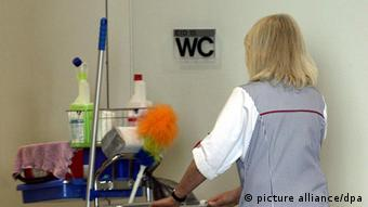 Female cleaner at work