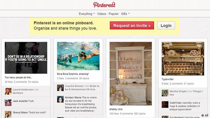 A screen shot of Pinterest