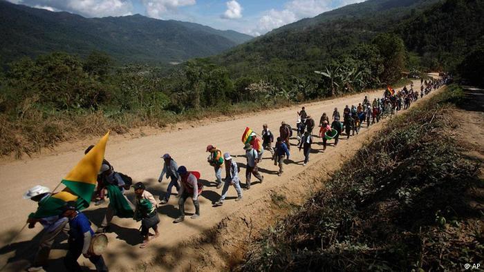 Protesta en marcha hacia La Paz.