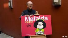 Argentine cartoonist Joaquin Salvador Lavado, better known as Quino, who created the famous comic strip Mafalda, poses after a news conference in Mexico City, Wednesday Nov. 26, 2008. The conference was held to to present a collection of unedited Mafalda cartoons. (ddp images/AP Photo/Dario Lopez-Mills)