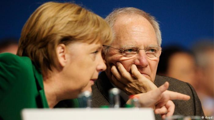 Merkel and Schäuble Photo: Norbert Millauer/dapd