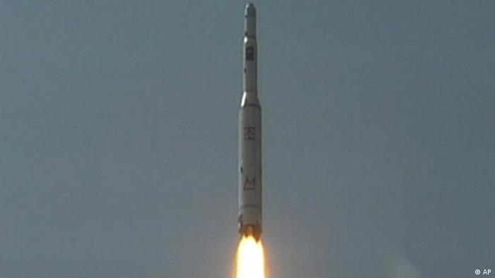 A rocket is lifted off from its launch pad in Musudan-ri, North Korea.