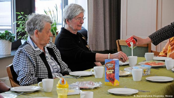 Dementia patients having a meal