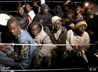Afrikaner an Deck eines Schiffes