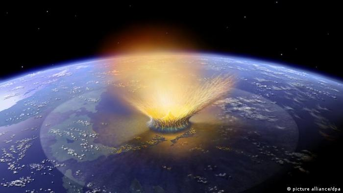 Illustration of an asteroid crashing on earth, likely killing all dinosaurs (photo: dpa)