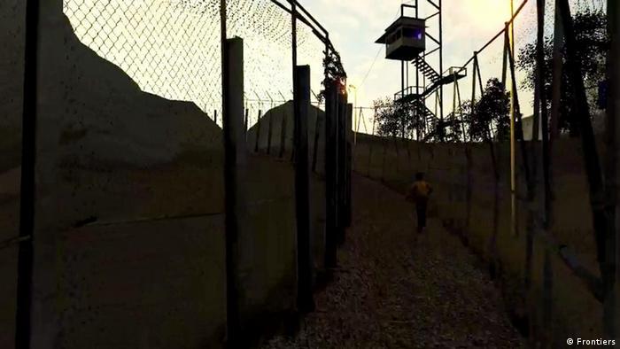 Screenshot von Wachturm im Serious Game Frontiers - you've reached fortress Europe der österreichischen Künstlergruppe gold extra (Copyright/Foto: Frontiers)