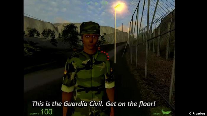 Screenshot eines Grenzsoldaten im Serious Game Frontiers - you've reached fortress Europe der österreichischen Künstlergruppe gold extra (Copyright/Foto: Frontiers)