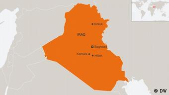 Map of Iraq showing Kirkuk north of Baghdad