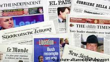 Die Titel verschiedener europäischer Tageszeitungen, aufgenommen am 7.11.2002. Die Zeitungsverlage im In- und Ausland sind fast ausnahmslos durch die sinkenden Werbeausgaben der Wirtschaft und dem damit verbundenen Rückgang auf dem Anzeigenmarkt gebeutelt. Sie müssen Mitarbeiter entlassen und andere Sparmaßnahmen vornehmen.