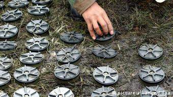 Removed landmines lined up in Colombia