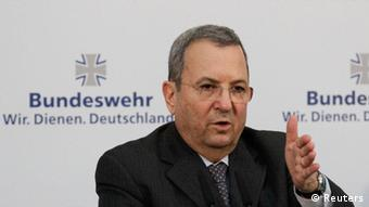 Israel's Defence Minister Ehud Barak addresses a news conference after talks with his German counterpart Thomas de Maiziere in Berlin March 20, 2012. REUTERS/Tobias Schwarz (GERMANY - Tags: POLITICS MILITARY)