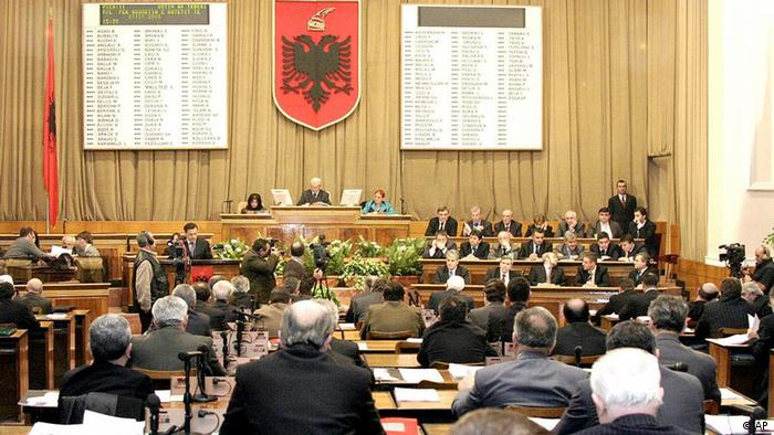 Albania's 140-member parliament meets in Tirana, Friday May 20, 2005 before it was dissolved ahead of general elections scheduled for July 3. Albania is under pressure to hold fair and trouble-free elections in order to further its ambitions to join NATO next year and the EU by 2015. Past elections have been marred by serious irregularities. (ddp images/AP Photo/Hektor Pustina)