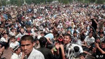 General view of a rally in downtown Andijan in 2005